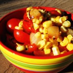 Grilled Corn Relish and Crockpot Shredded Chicken