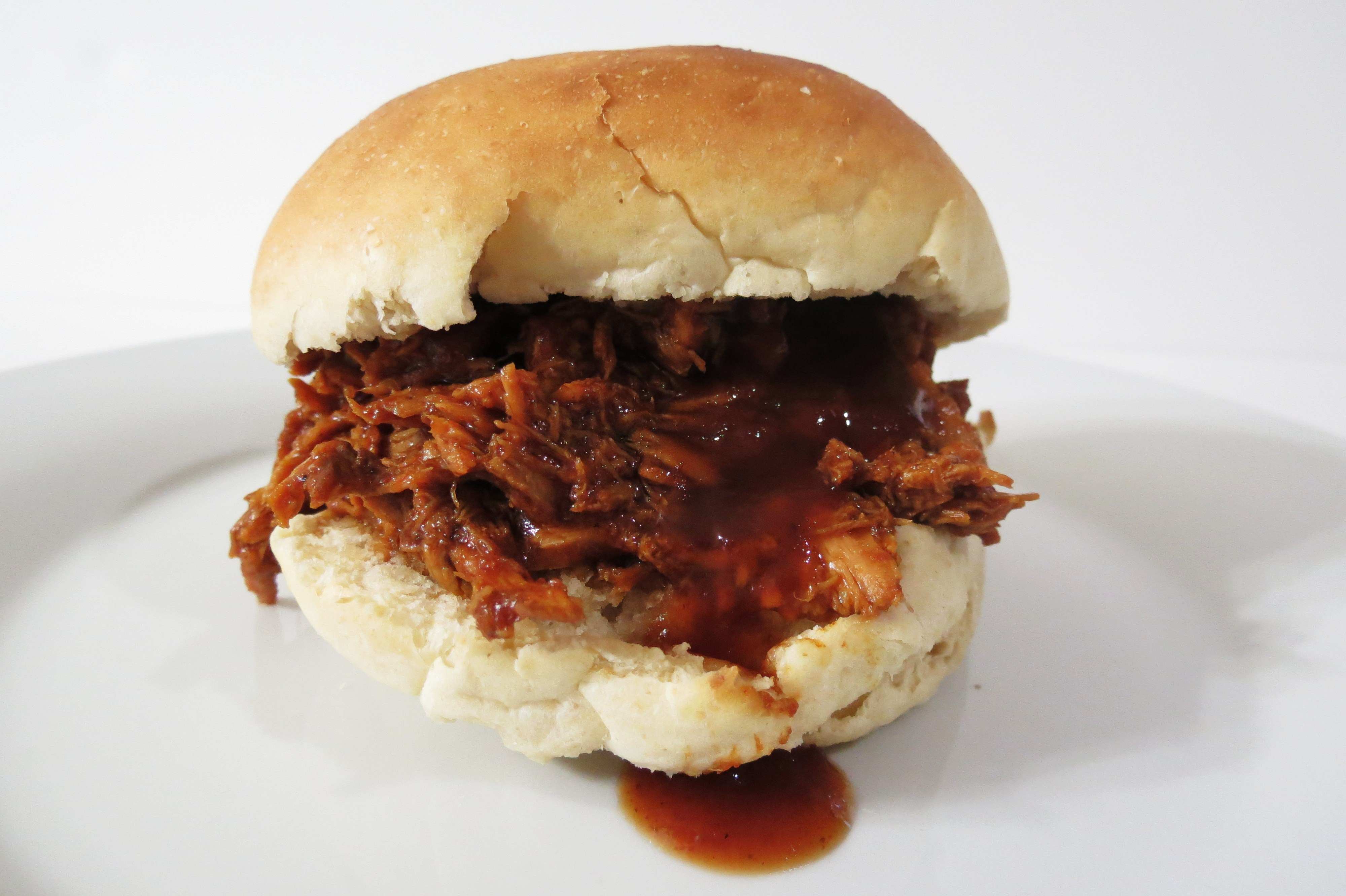 Shredded Barbecue Chicken and Homemade Rolls