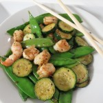 Shrimp, Zucchini and Snow Pea Stirfry