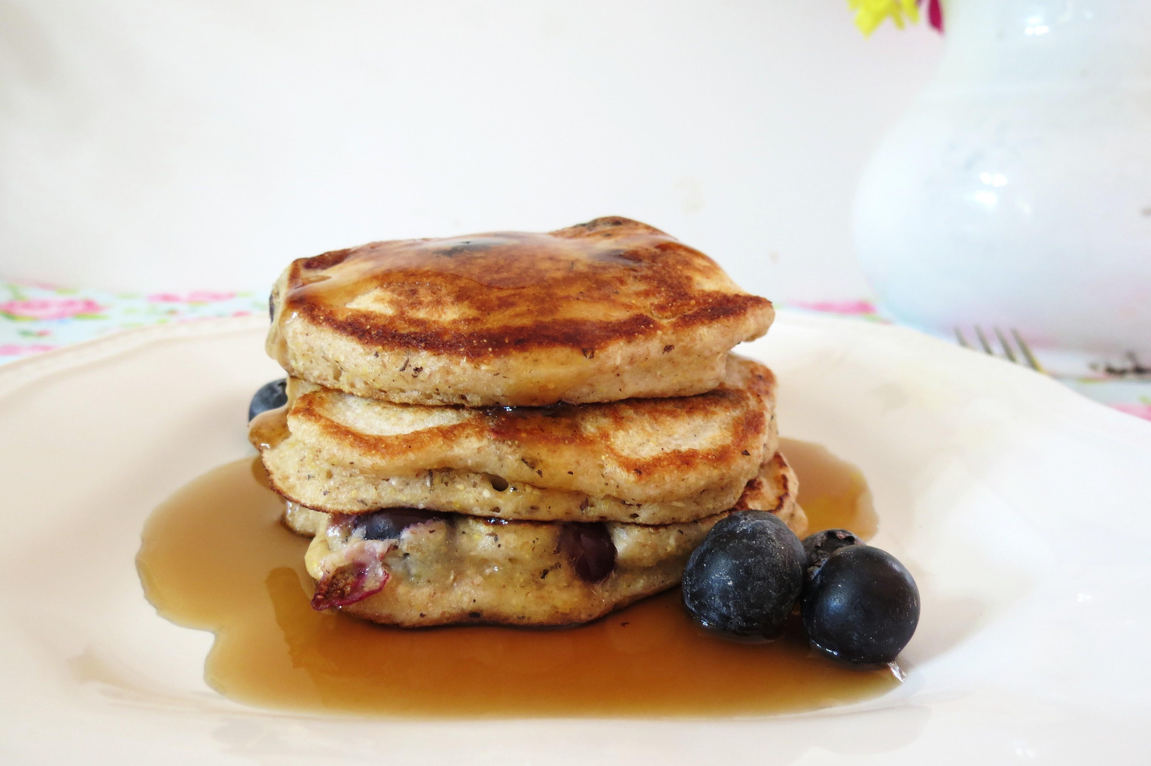 ... thick Blueberry Pancake, made with Greek Yogurt and Spelt Pancake Mix
