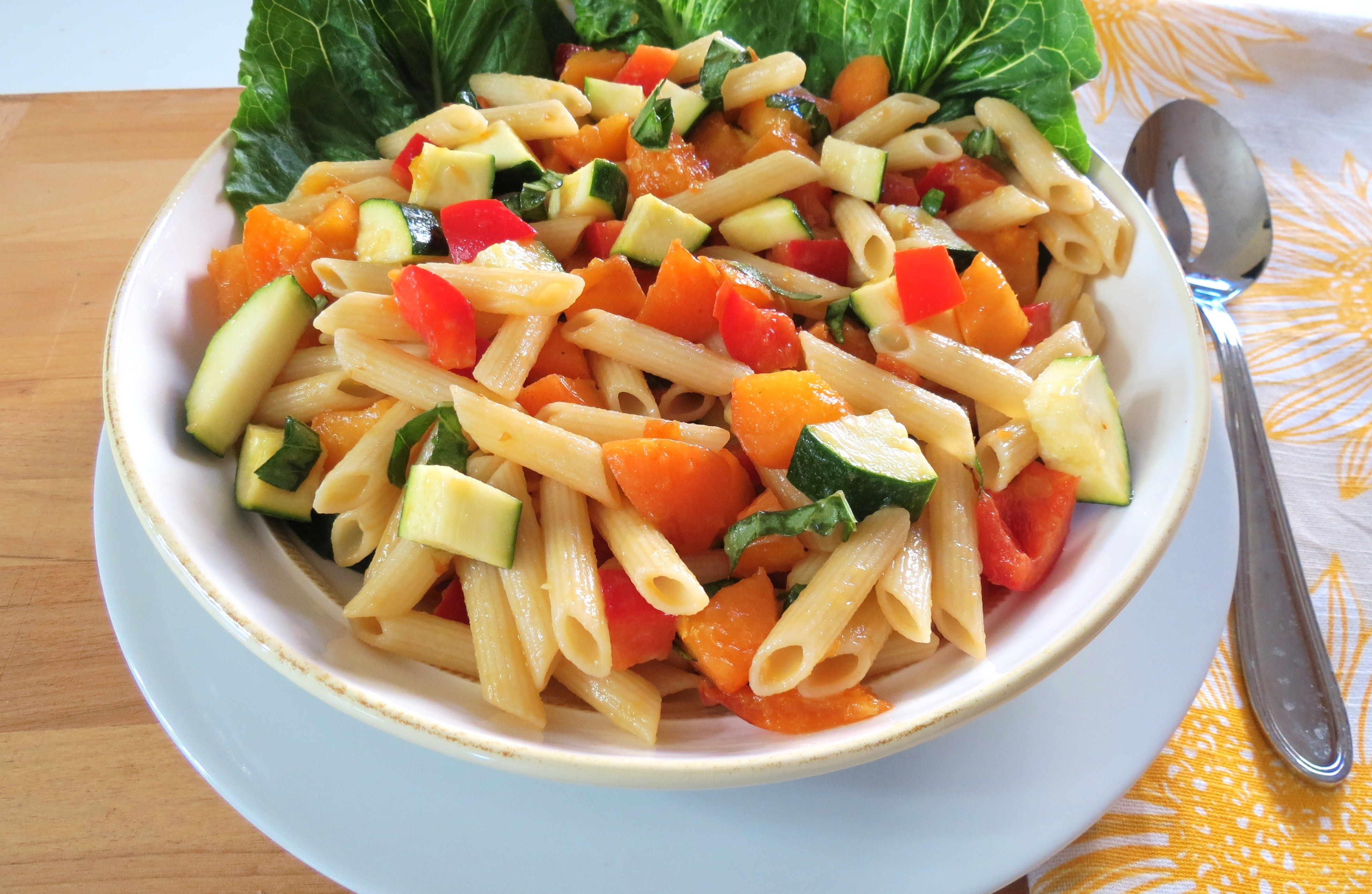 sweet and savory summertime pasta salad. Made with fresh apricots ...