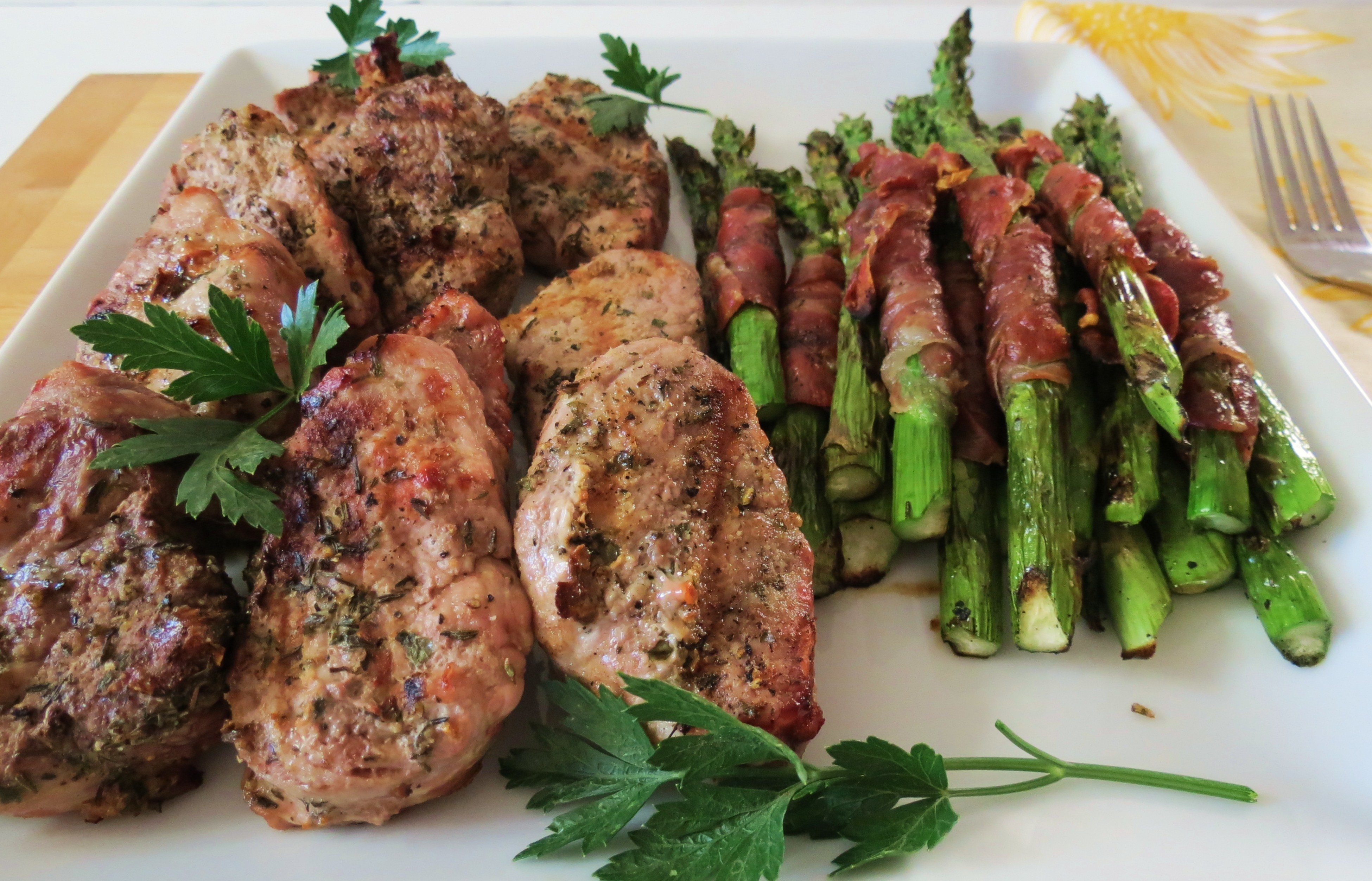 Grilled Pork Medallions with Asparagus Wrapped Prosciutto | Peanut ...