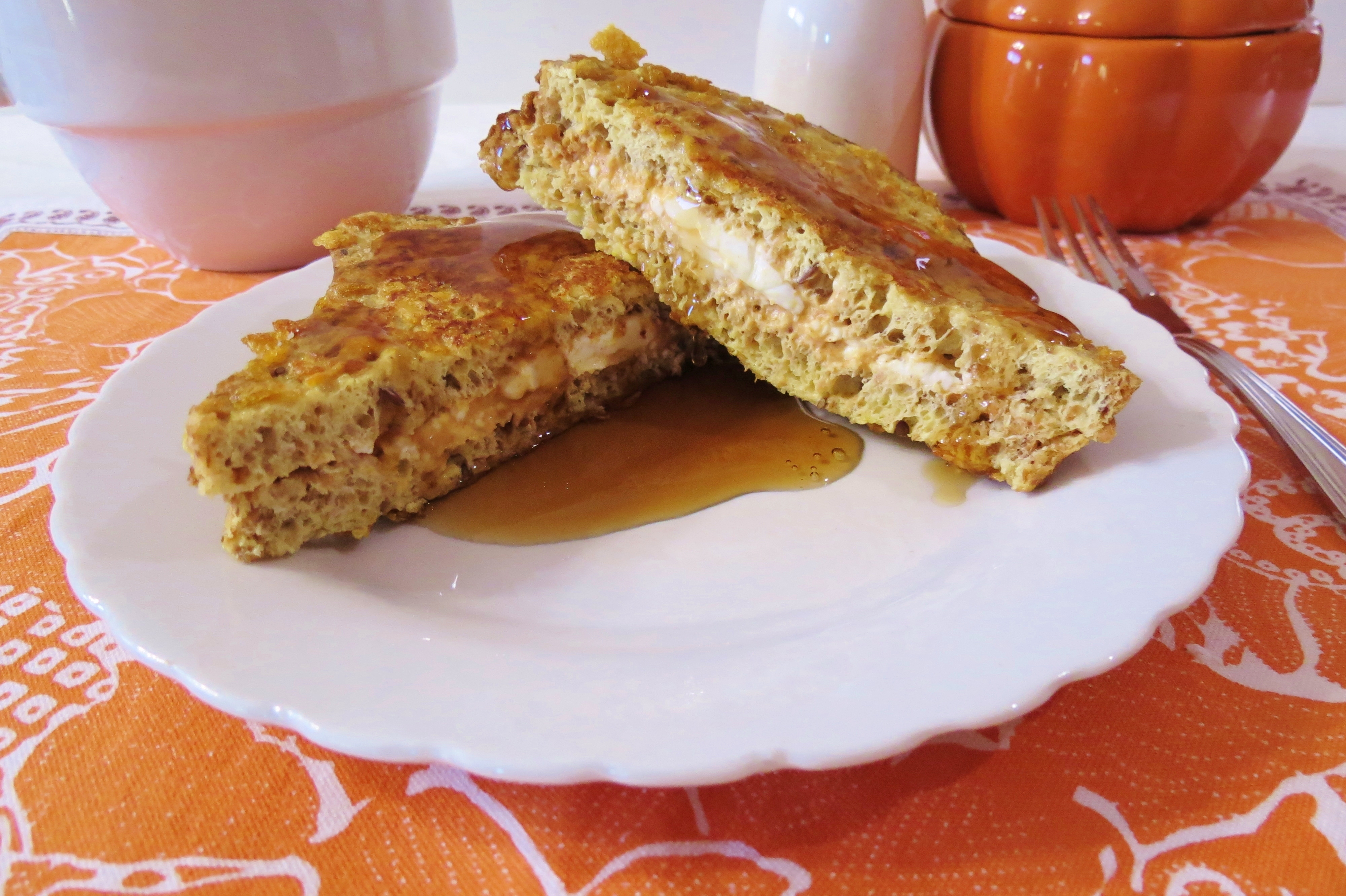 ... french toast topped with cornflakes and stuffed with pumpkin and cream