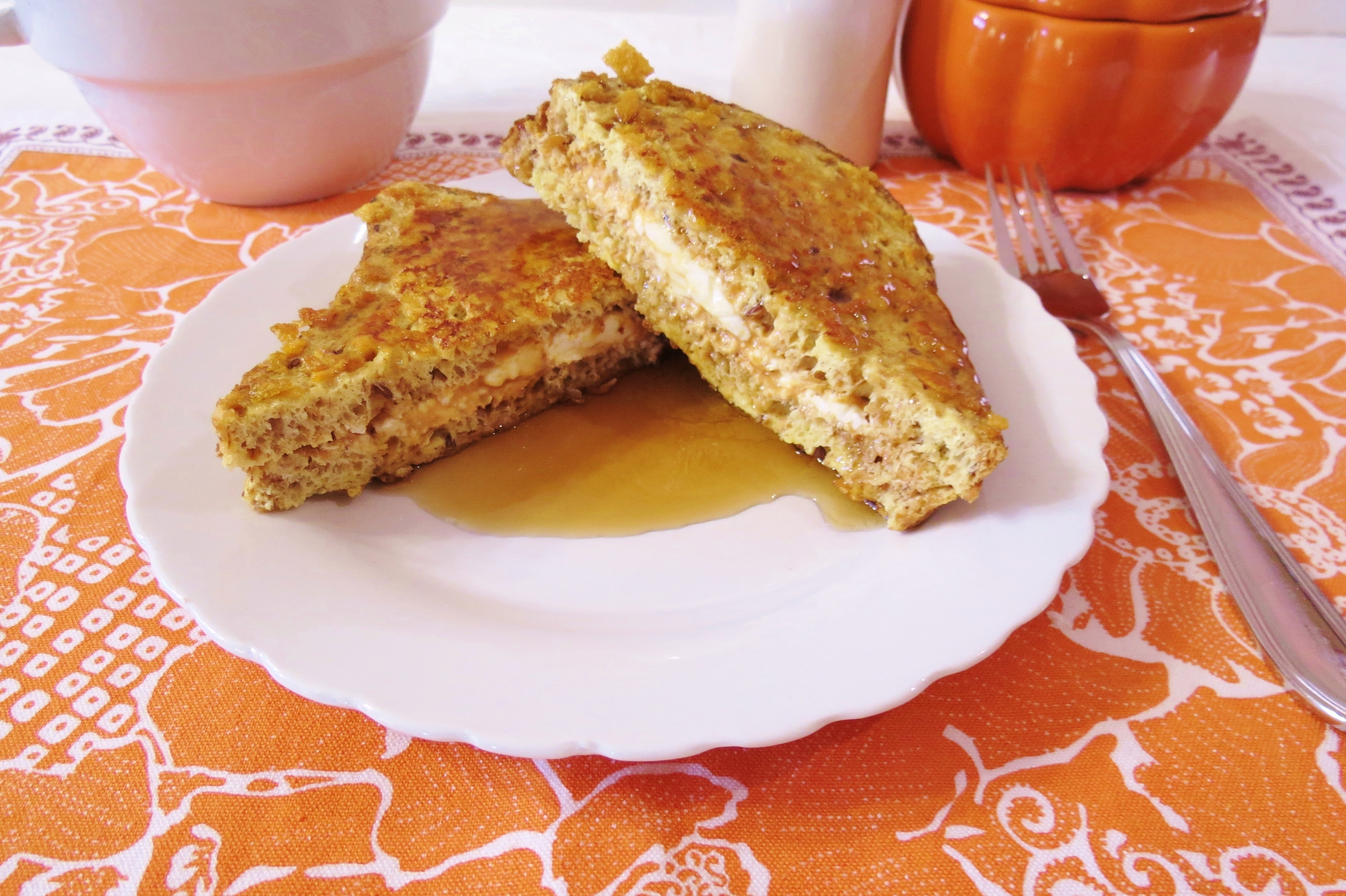 Crunchy Stuffed Pumpkin French Toast | Peanut Butter and Peppers