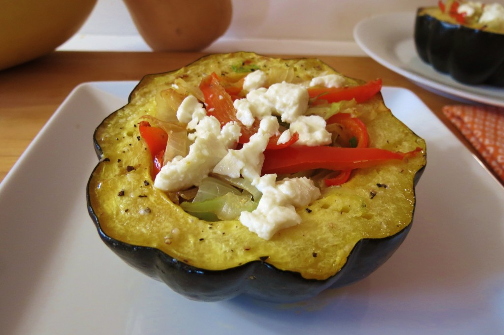 Acorn Squash stuffed with Cabbage, Peppers and Onions