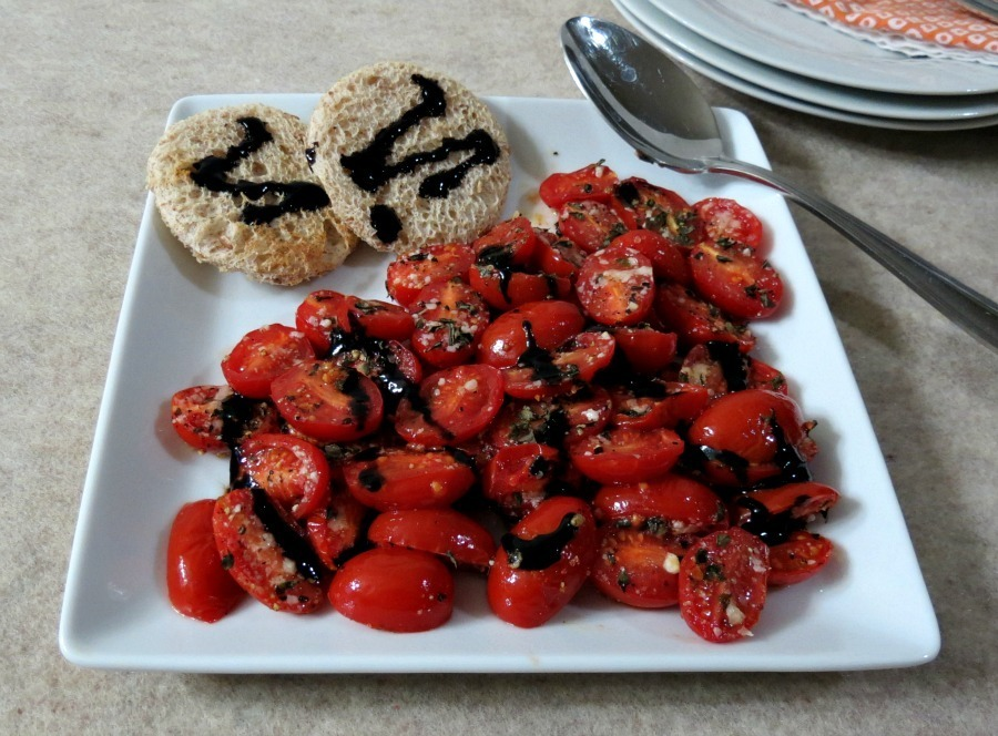 Oven Roasted Tomatoes with Balsamic Glaze