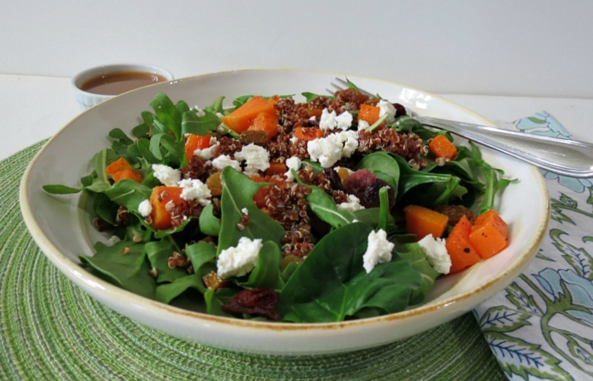 Butternut Squash and Red Quinoa Salad with Honey Balsamic Dressing