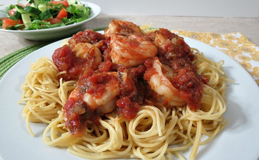 Tomato and Wild Blue Shrimp Pasta for Two