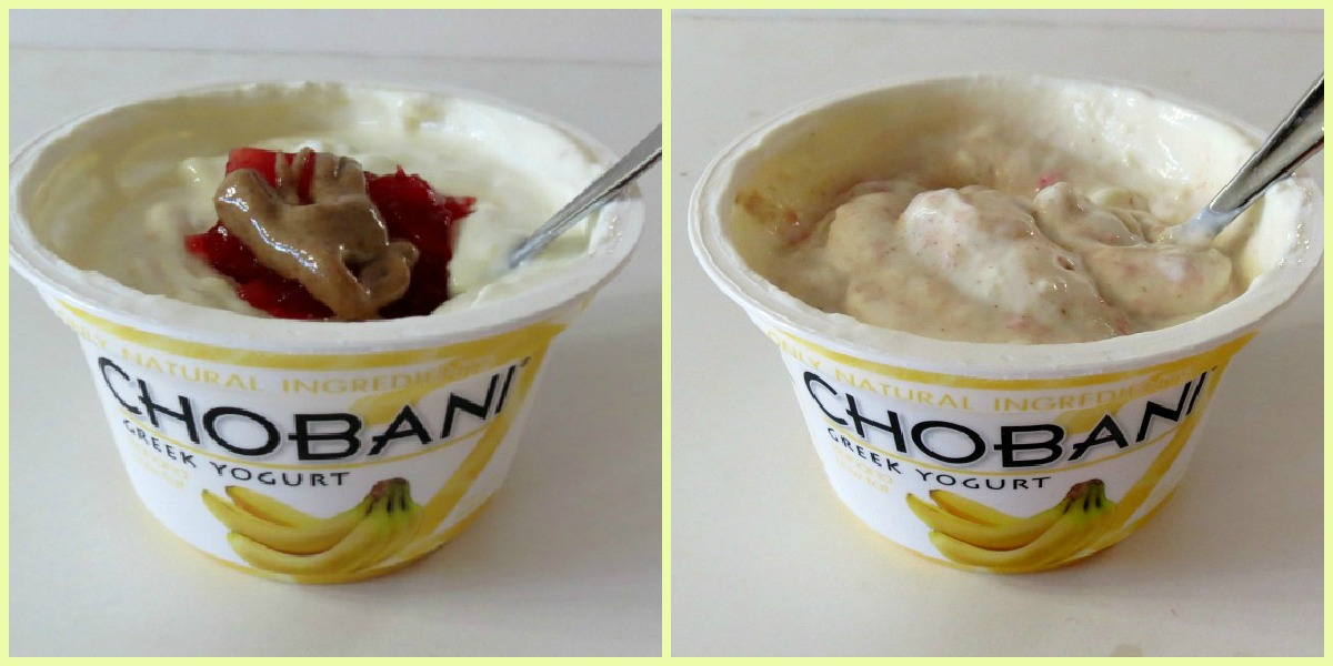 Chobani Yogurt with Strawberry Jam and Peanut Butter