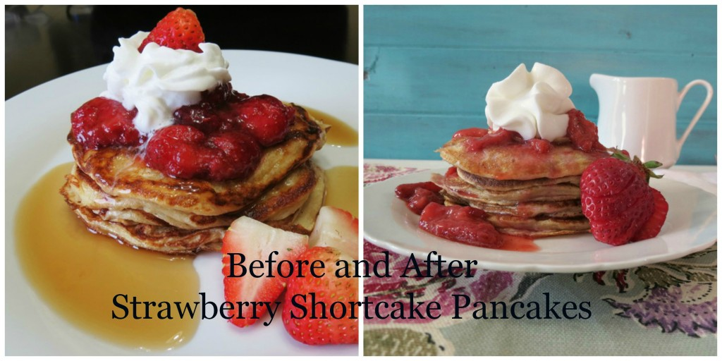 Before and After Strawberry Shortcake Pancakes