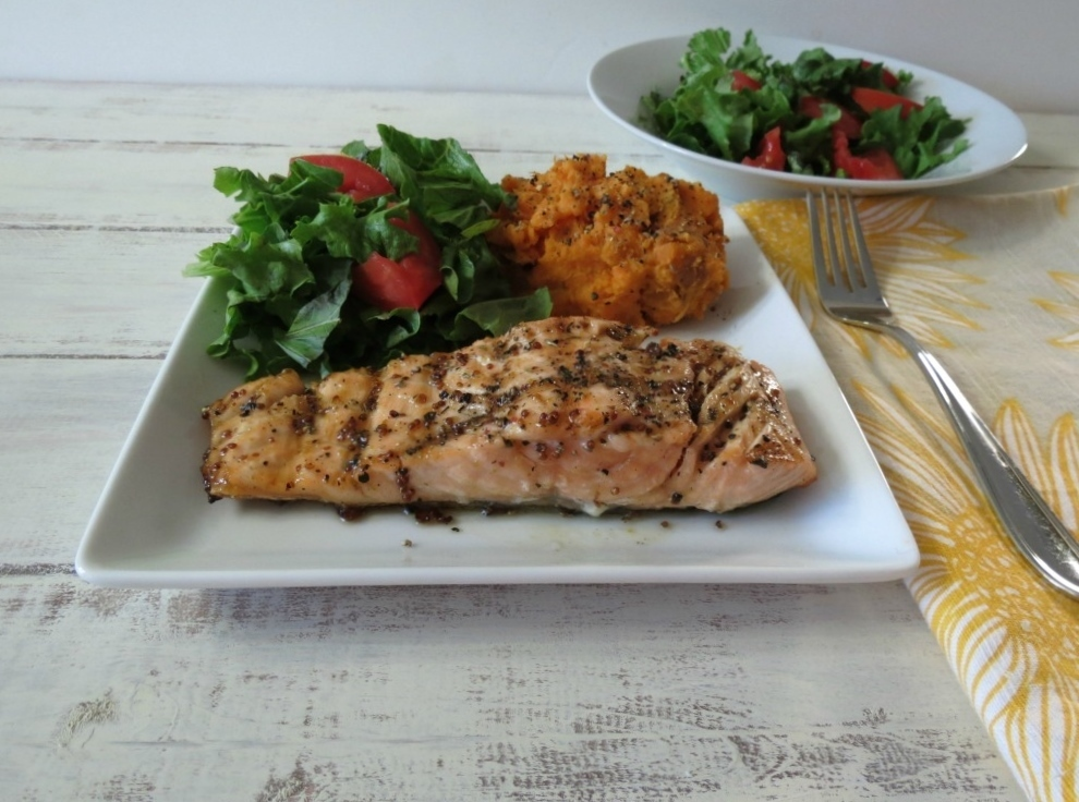 Maple Mustard Glazed Grilled Salmon | Peanut Butter and Peppers