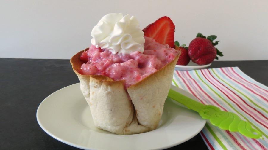 Strawberry Ice Cream in a Cinnamon and Sugar Cup