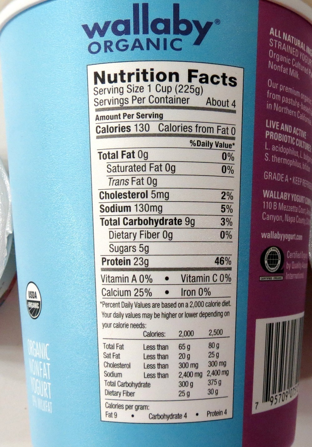 Wallaby Greek Yogurt Nutritional Stats