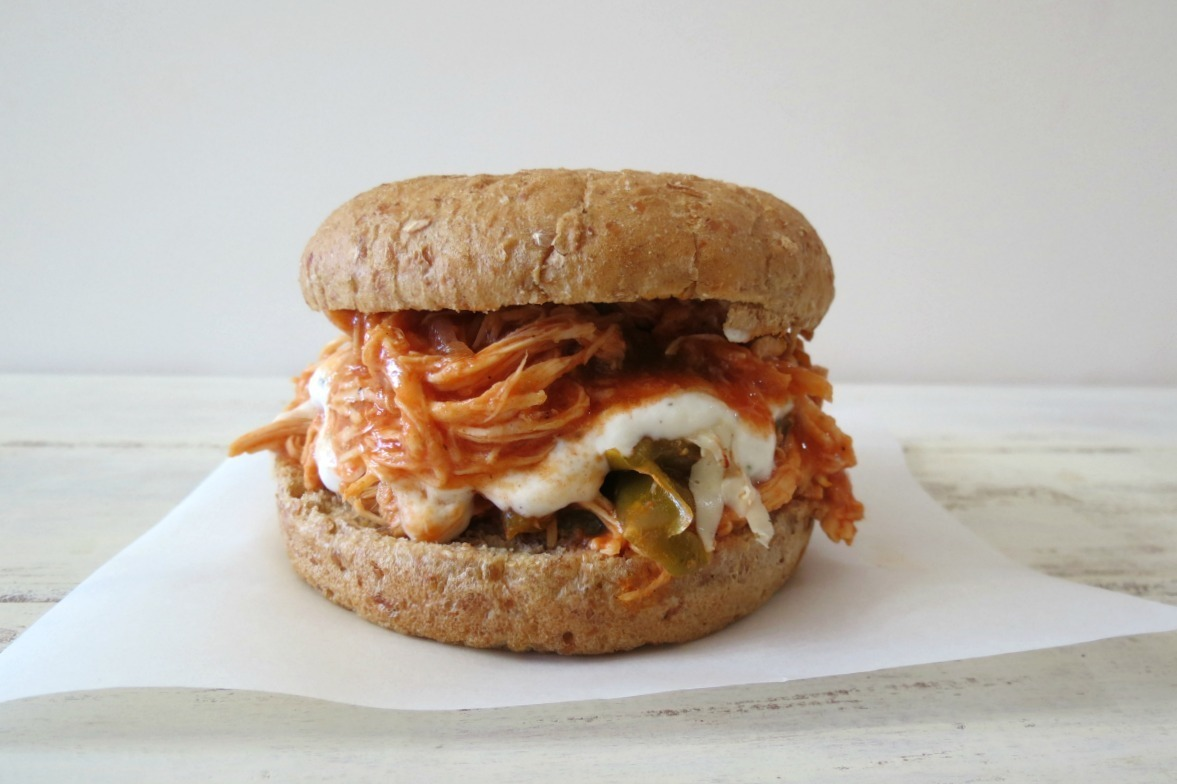 Buffalo Shredded Chicken Burger  - Crockpot