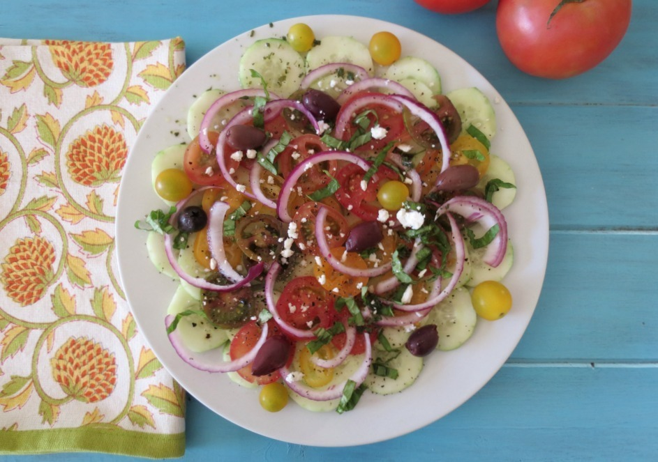 light, refreshing Mediterranean salad made with cucumbers tomatoes ...