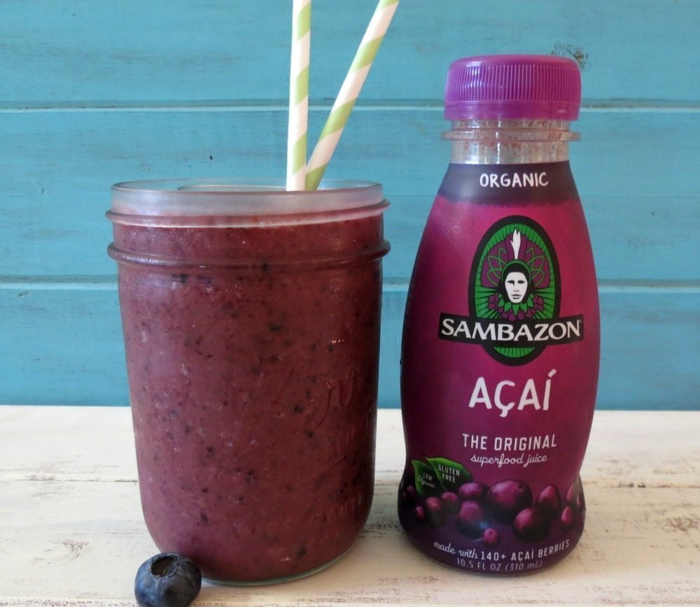 Blueberry Banana Acai Smoothie | Peanut Butter and Peppers