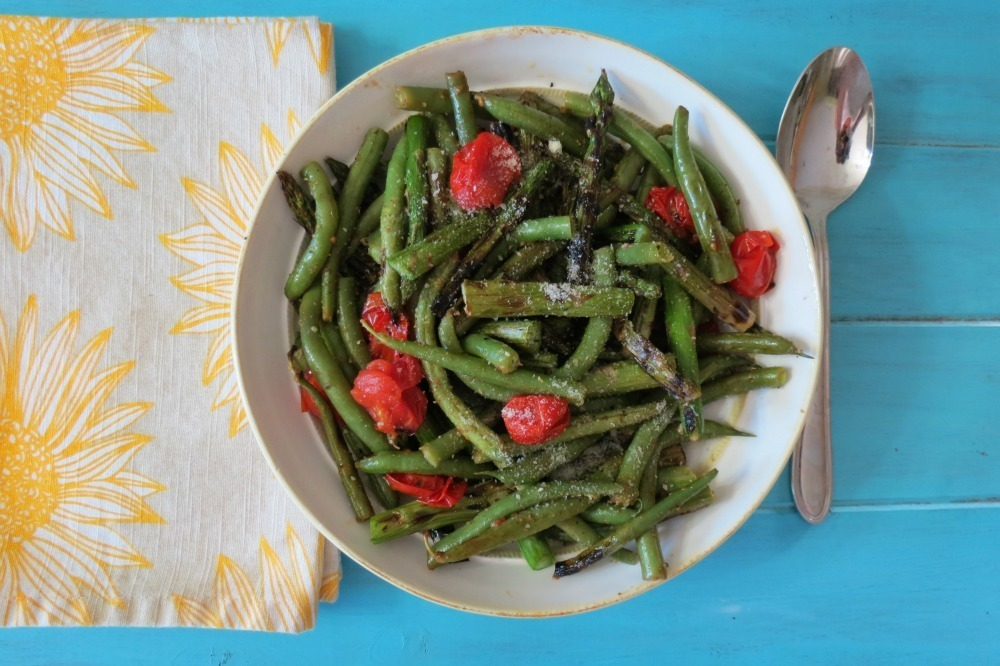 Grilled Asparagus with Roasted Green Beans and Tomatoes
