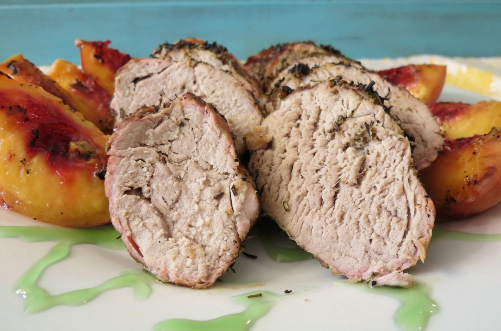 Grilled Herb Pork Tenderloin with Grilled Peaches | Peanut Butter and ...