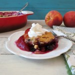 Lightened Up Peach and Blueberry Cobbler #SundaySupper