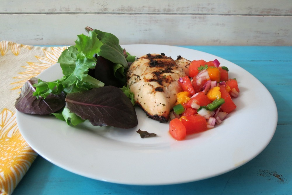 Yogurt Marinated Grilled Chicken with Watermelon Salsa
