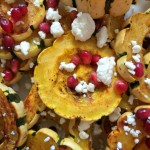 Baked Delicata Squash with Pomegranate and Goat Cheese
