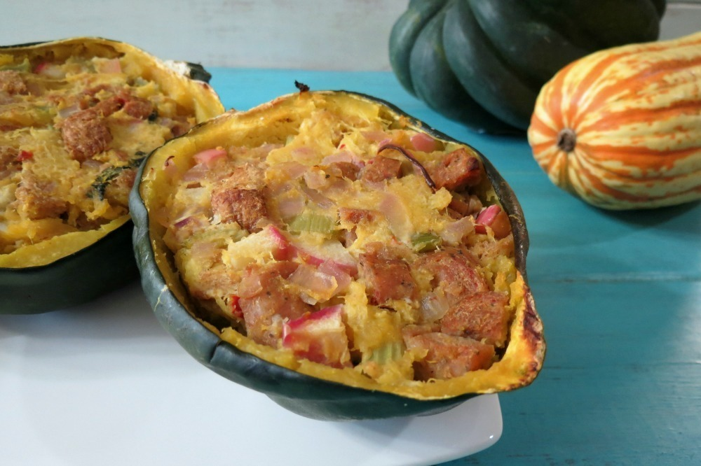 Baked Acorn Squash with Apple and Sausage Stuffing | Peanut Butter and ...