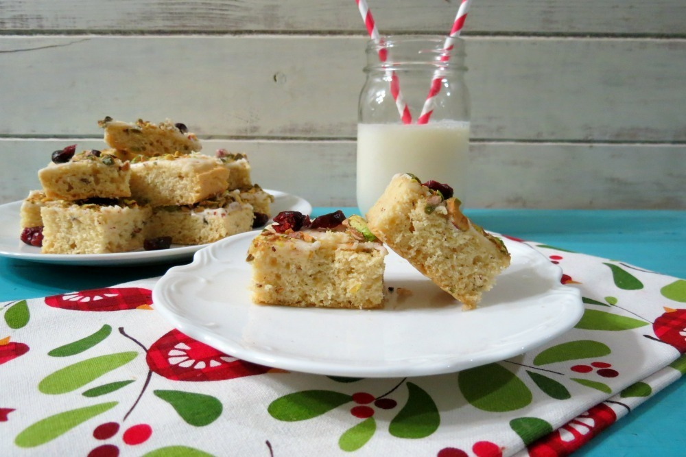 Pistachio and Cranberry Sugar Cookie Bars