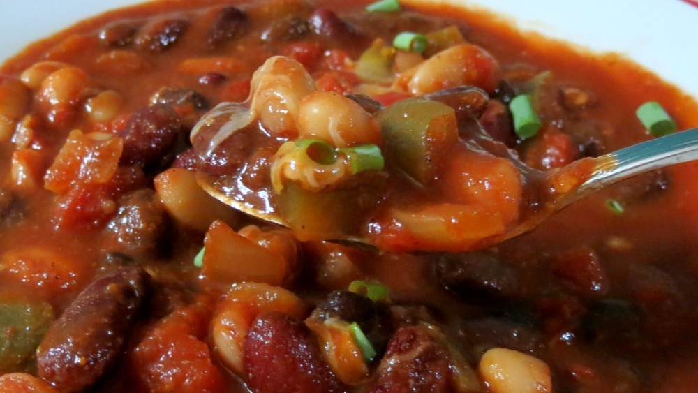 ... bean vegetarian chili recipe yummly three bean chili quick and easy