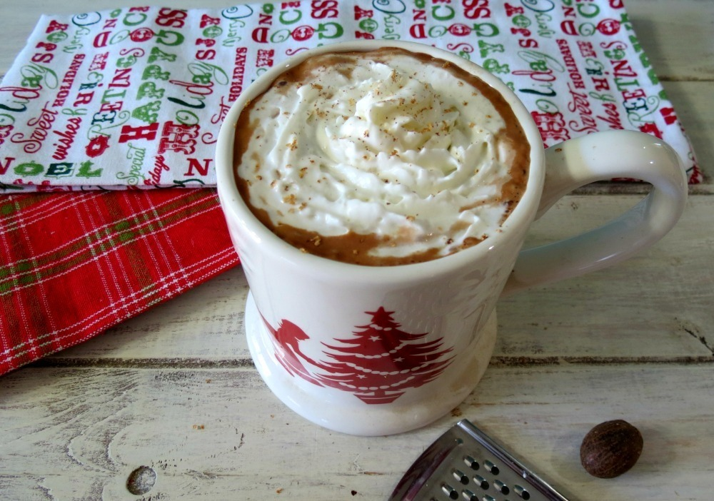 ... hot chocolate made with dairy free eggnog, coconut milk and spices
