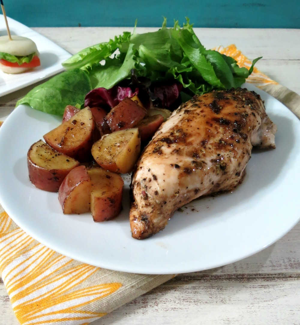 Balsamic Glazed Roasted Potatoes and Chicken