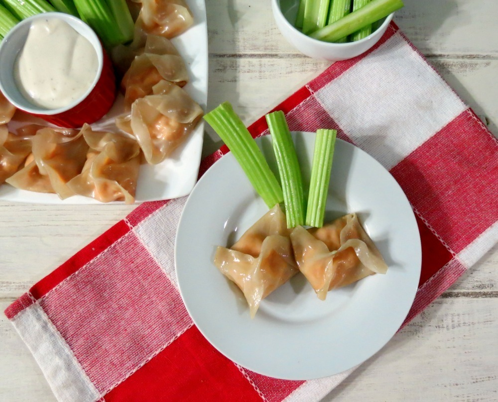 Buffalo Chicken Potstickers #SundaySupper