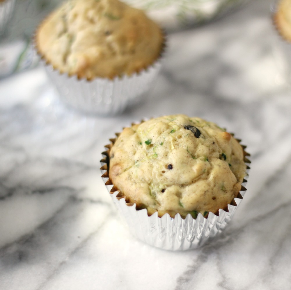 Banana Zucchini Chocolate Chip Muffins | Peanut Butter and Peppers