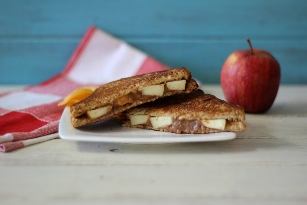 whole wheat grilled sandwich made with peanut butter, apple butter ...