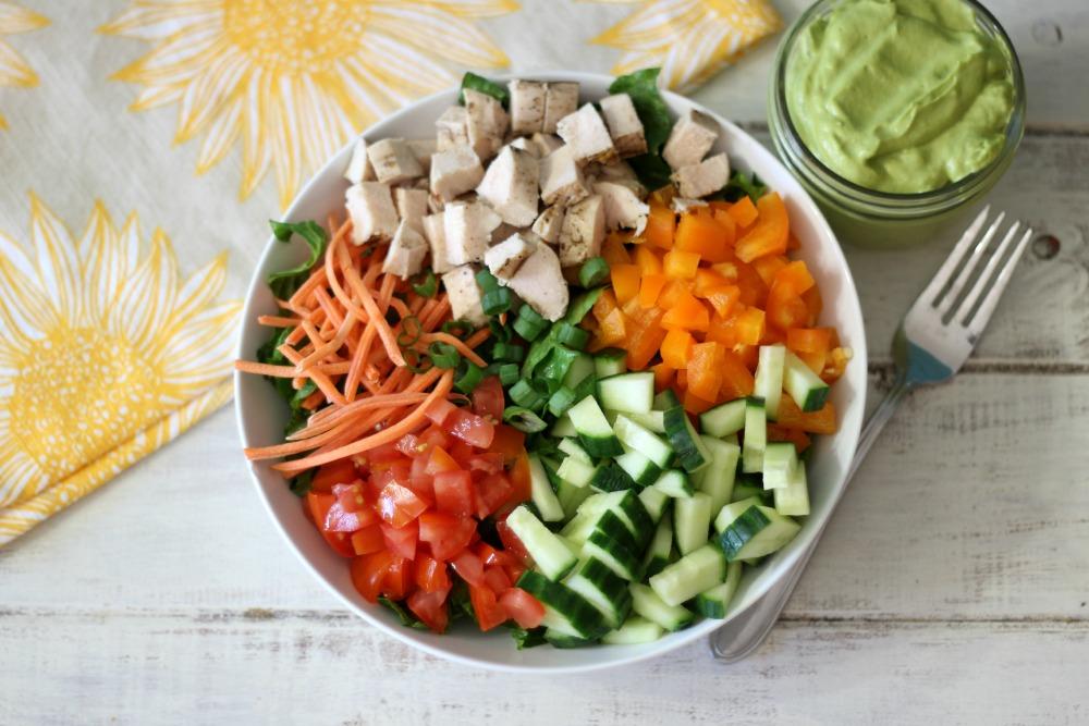 Chopped Chicken Garden Salad w/ Spicy Avocado Dressing