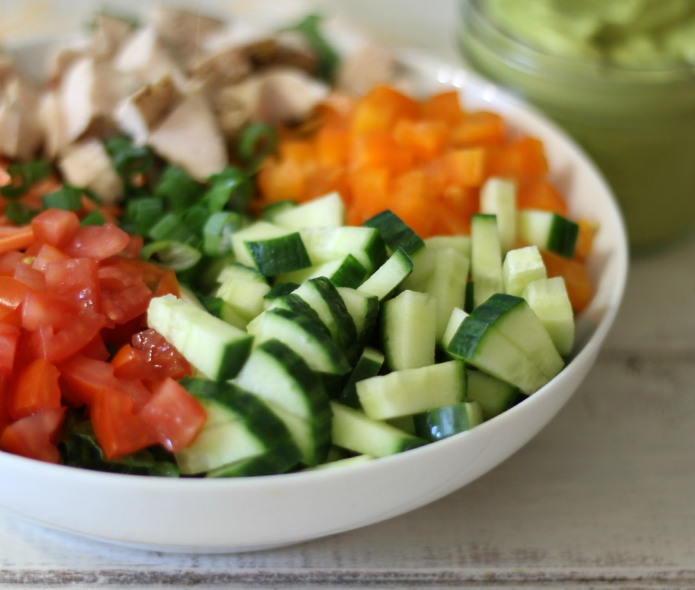 Chopped Chicken Garden Salad W/ Spicy Avocado Dressing #WeekdaySupper  #ChooseDreams