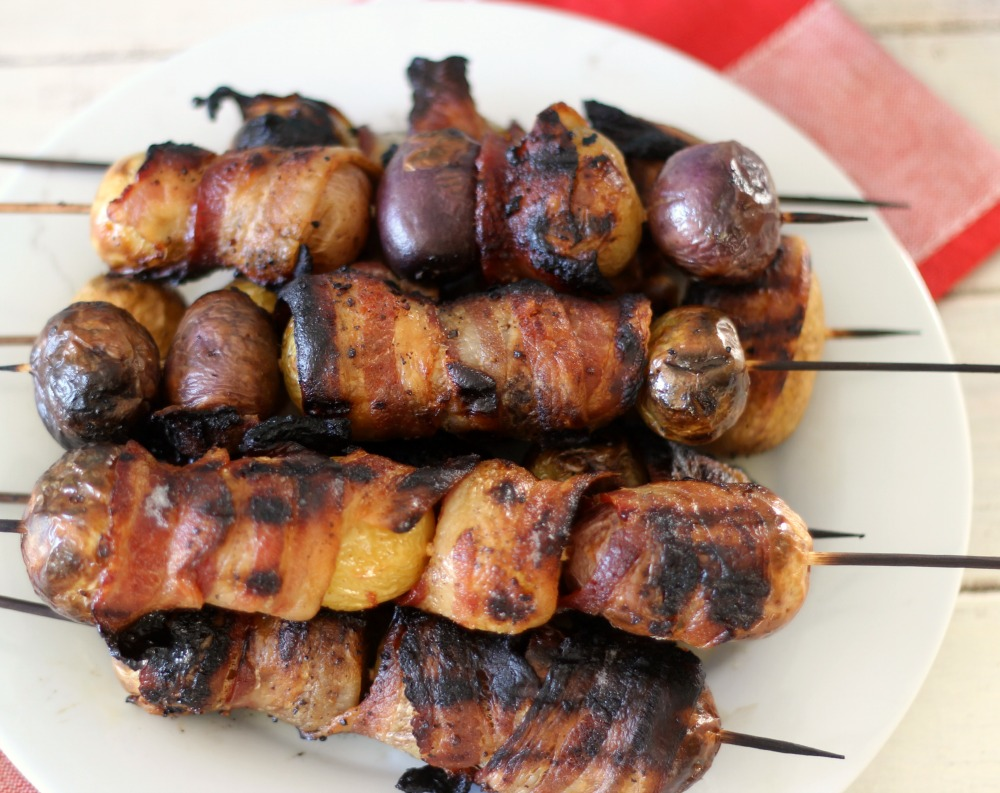 Grilled Candied Bacon wrapped in Potatoes