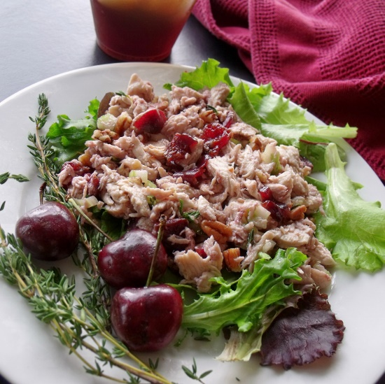 cherry chicken salad plate