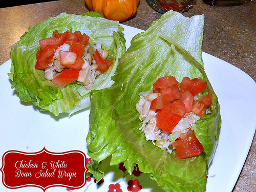 Chicken and White Bean Salad Wraps