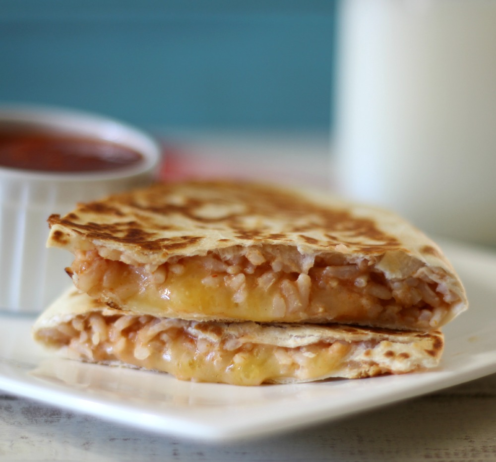 Cheesy Brown Rice Quesadilla  #BensBeginners