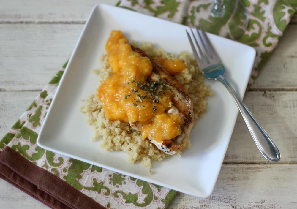 Peach Mango Grilled Chicken over Quinoa