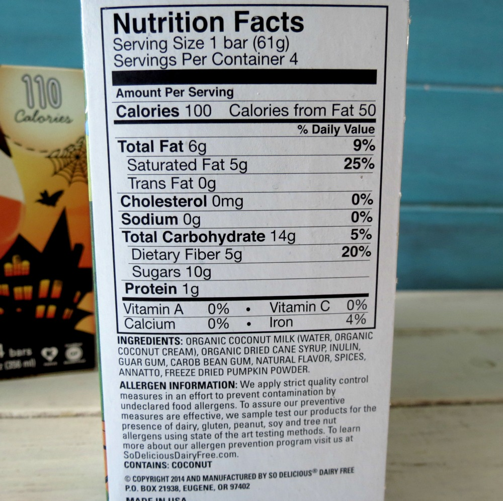 Nutrition for So Delicous Pumpkin Ice Cream Bars