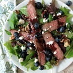 Blueberry Steak Salad with Homemade Blueberry Dressing
