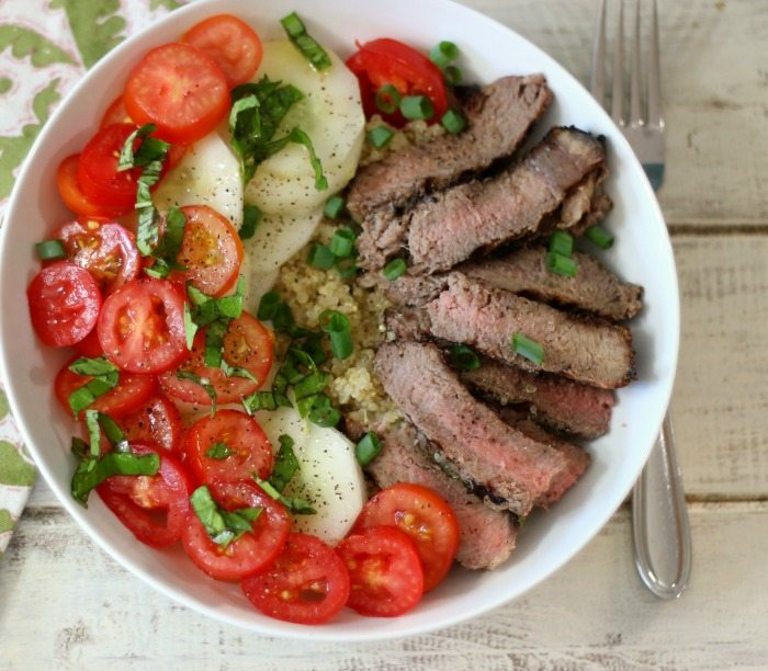 Steak & Quinoa Protein Bowl #SundaySupper #GrillTalk