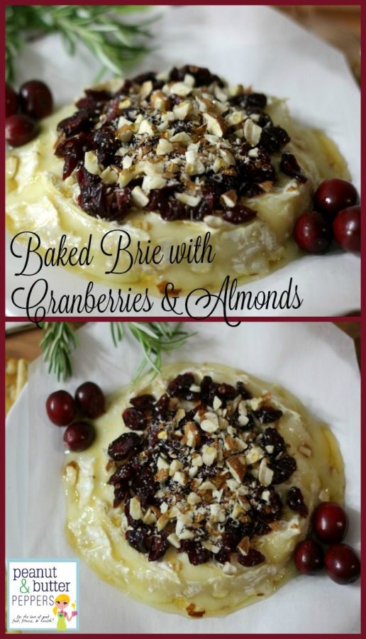 Baked Brie with Cranberries & Almonds #SundaySupper #GalloFamily